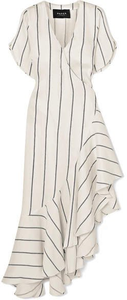 Asymmetric Striped Linen-blend Wrap Dress - Ivory