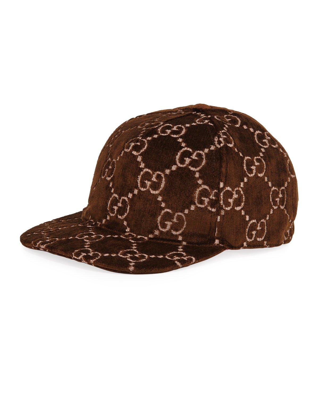 Gucci Logo-Embroidered Velvet Baseball Hat