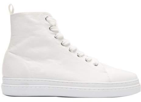 Pointed Toe Lace Up High Top Trainers - Womens - White