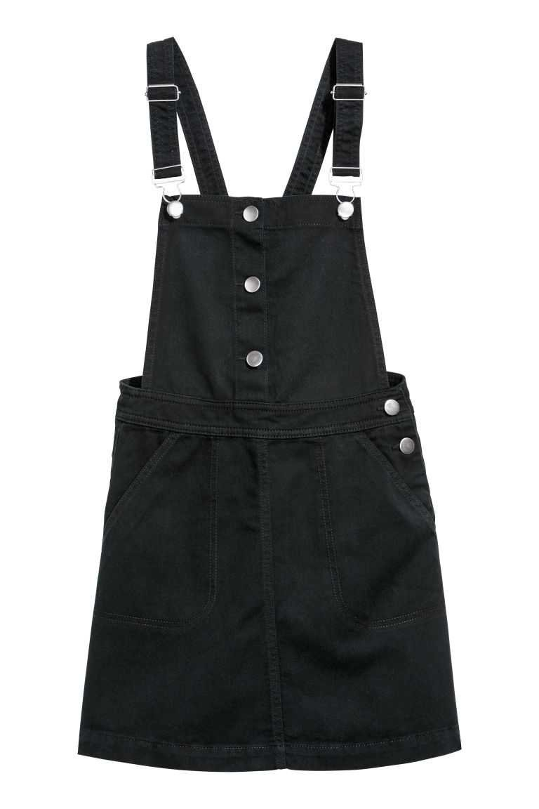 Bib Overall Dress - Black | H&M US