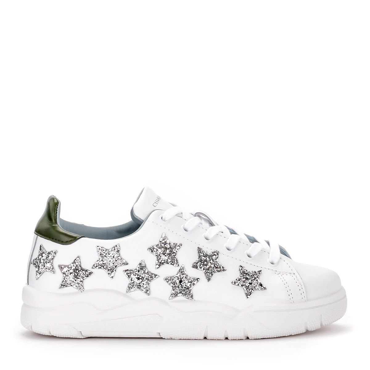 Chiara Ferragni Roger White Leather Sneaker With Stars