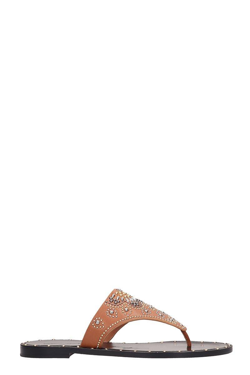 Lola Cruz Browne Leather Flats Sandals