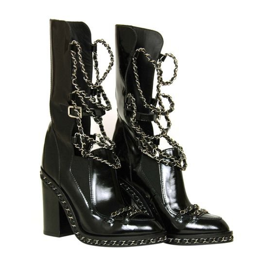 CHANEL Black Glazed Chain Obsession Boots