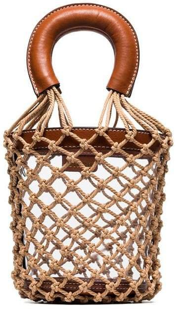 brown Moreau leather trim netted PVC bucket bag