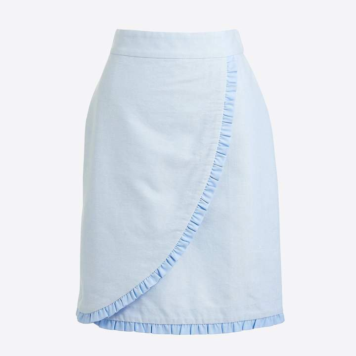 Oxford ruffle pencil skirt