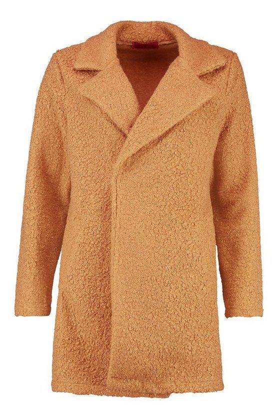 Teddy Textured Wool Look Coat camel