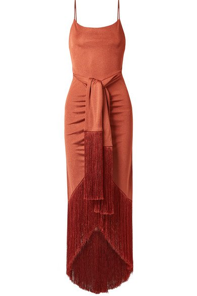 Cult Gaia | Natalia tie-front fringed metallic satin-jersey maxi dress | NET-A-PORTER.COM