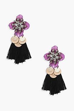 Mia Statement Floral Coin Tassel Earrings