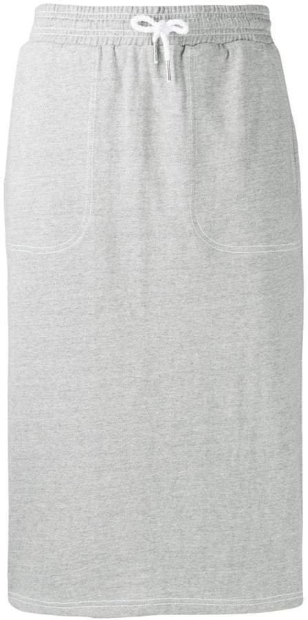 drawstring waist midi skirt