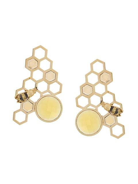 Delfina Delettrez 9kt yellow gold To Bee or Not To Be earrings
