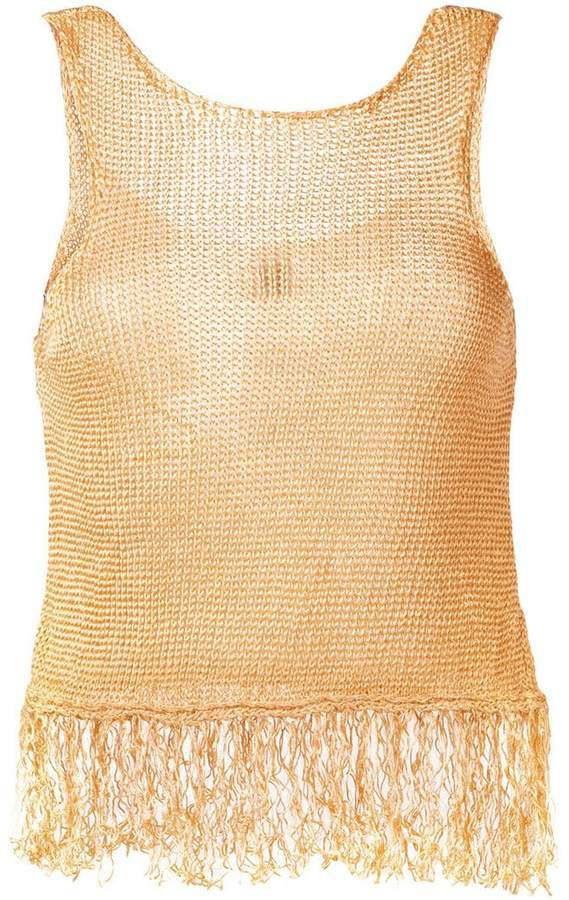 fringed knit tank top