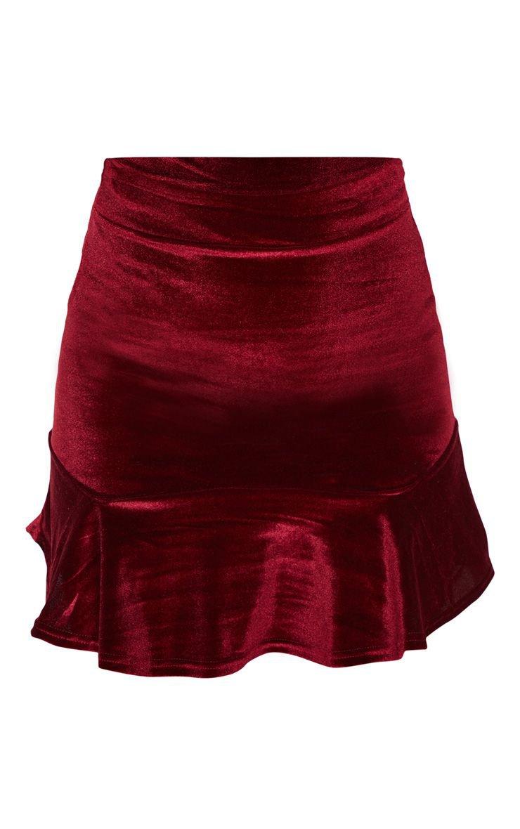 Burgundy Velvet Frill Hem Mini Skirt   PrettyLittleThing USA