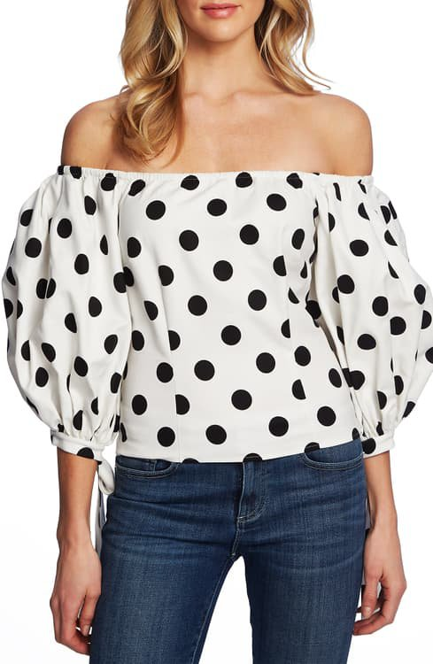 CeCe Dappled Dots Off the Shoulder Stretch Cotton Blouse | Nordstrom