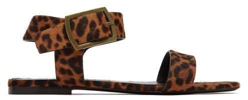 Oak Leopard Printed Calf Hair Sandals - Womens - Leopard