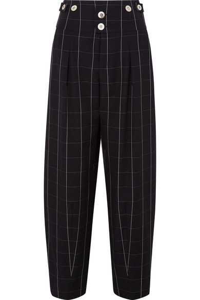 Chloé | Checked wool wide-leg pants | NET-A-PORTER.COM