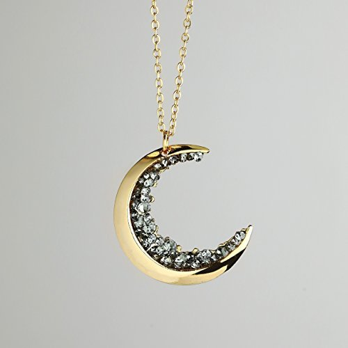 SAME DAY SHIPPING before 3 PM EST Dainty Jewelry Gold Crescent Moon Necklace Black Diamond Necklace MignonandMignon Mothers Day Gift For Her Celestial Jewelry - ZCMN