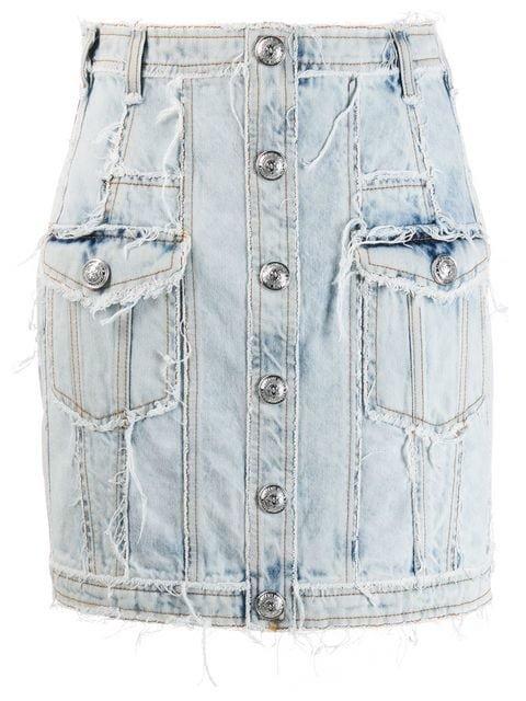 Balmain Distressed Buttoned Denim Mini Skirt