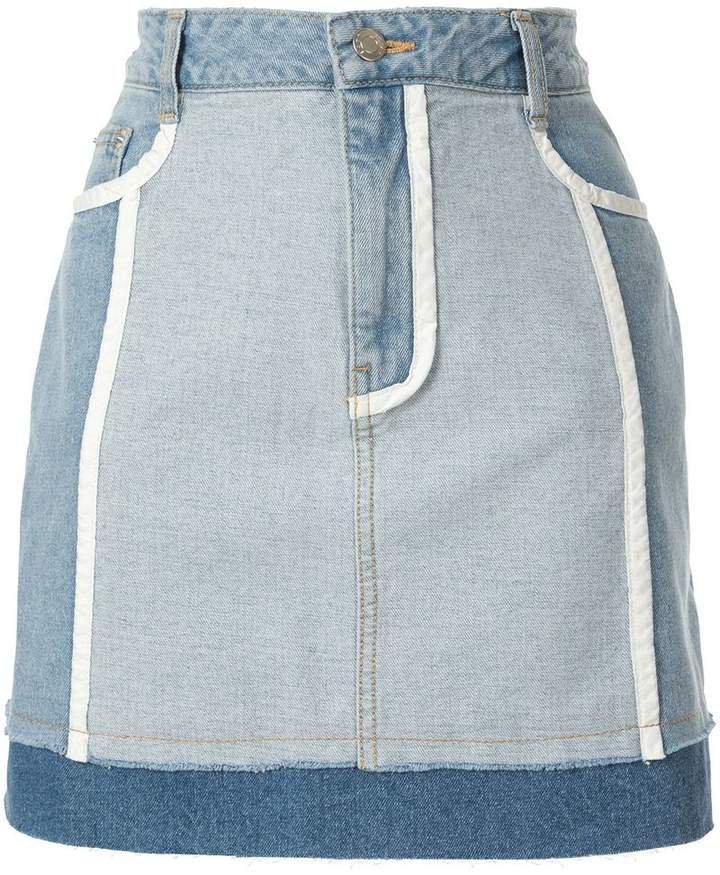 white lined denim skirts