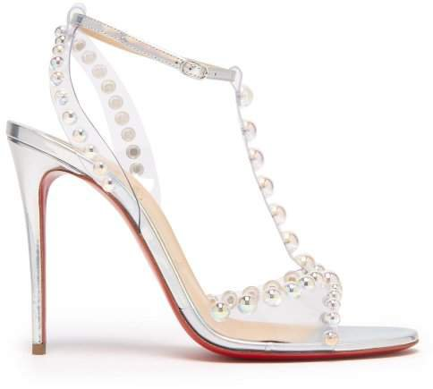 Faridaravie 100 Bubble Bead Leather Sandals - Womens - White Silver