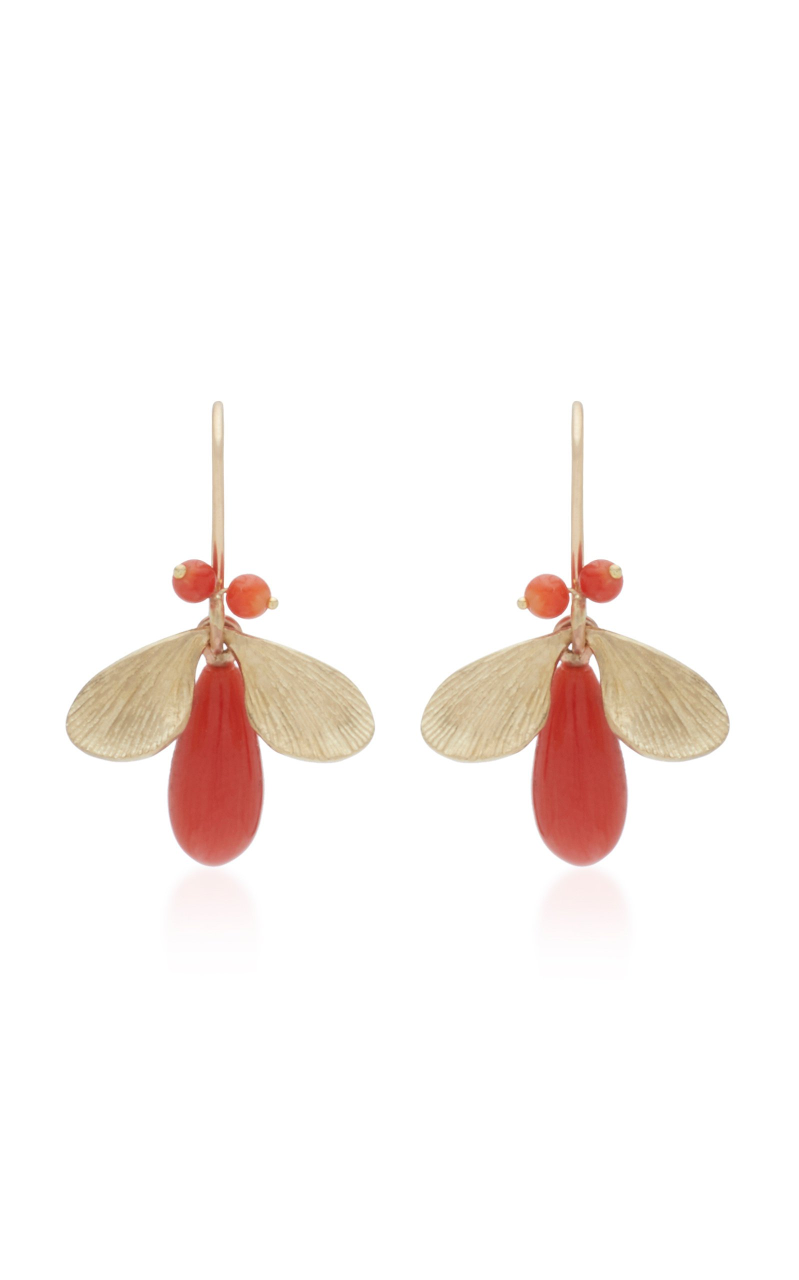Annette Ferdinandsen Jeweled Bugs 14K Gold And Coral Drop Earrings