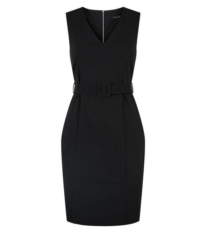 Black V Neck Belted Dress   New Look
