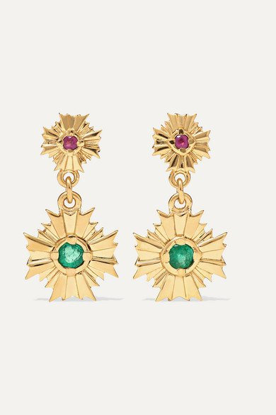 Meadowlark | August gold-plated, ruby and emerald earrings | NET-A-PORTER.COM