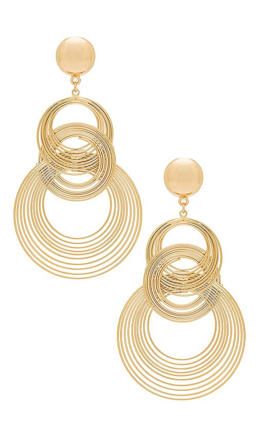 Ettika Art Deco Earrings in Gold   REVOLVE