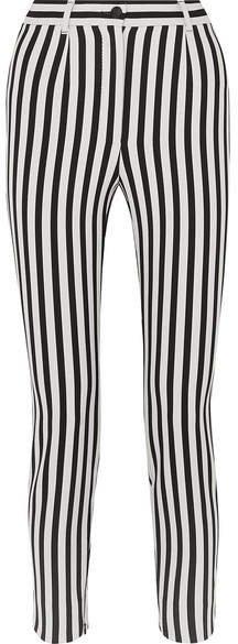 Cropped Striped Stretch-cady Slim-leg Pants - Black