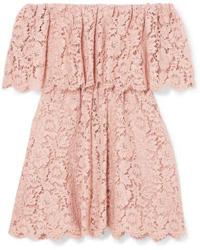 Off-the-shoulder Guipure Lace Mini Dress - Blush