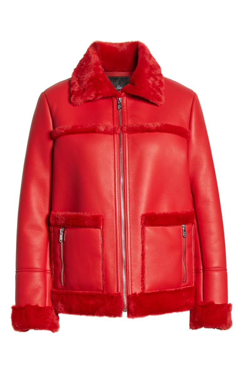 Sam Edelman Faux Fur Trim Faux Leather Jacket red
