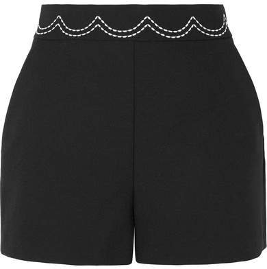Embroidered Cady Shorts - Black
