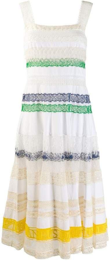lace tier midi dress