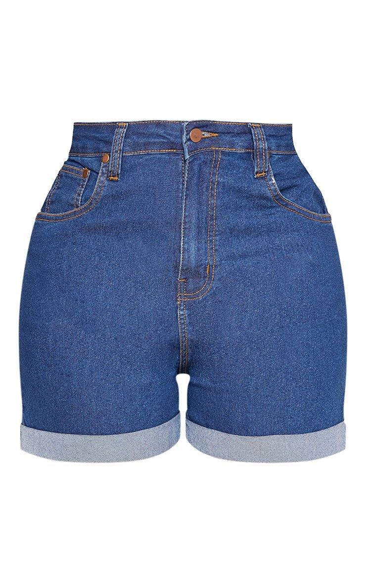 Shape Dark Wash High Waisted Fitted Denim Shorts | PrettyLittleThing