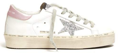 Hi Star Low Top Leather Trainers - Womens - White Silver