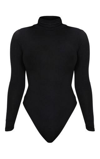 Petite Black Basic Roll Neck Long Sleeve Bodysuit | PrettyLittleThing