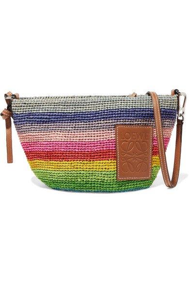 Loewe | + Paula's Ibiza Pochette small leather-trimmed striped raffia shoulder bag | NET-A-PORTER.COM