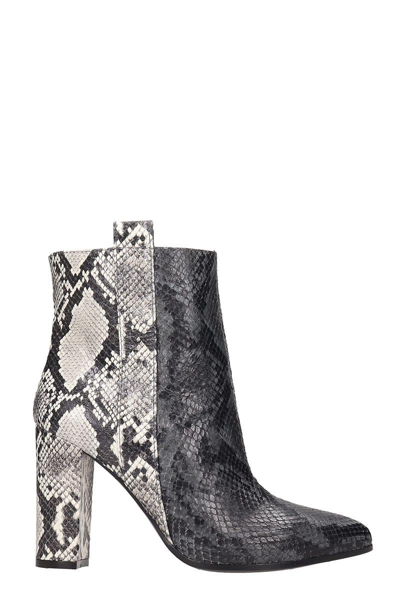 Via Roma 15 High Heels Ankle Boots In Grey Leather