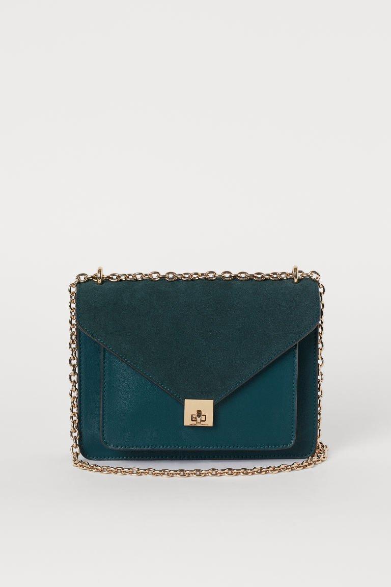 Shoulder Bag with Suede Detail - Dark green - Ladies | H&M US