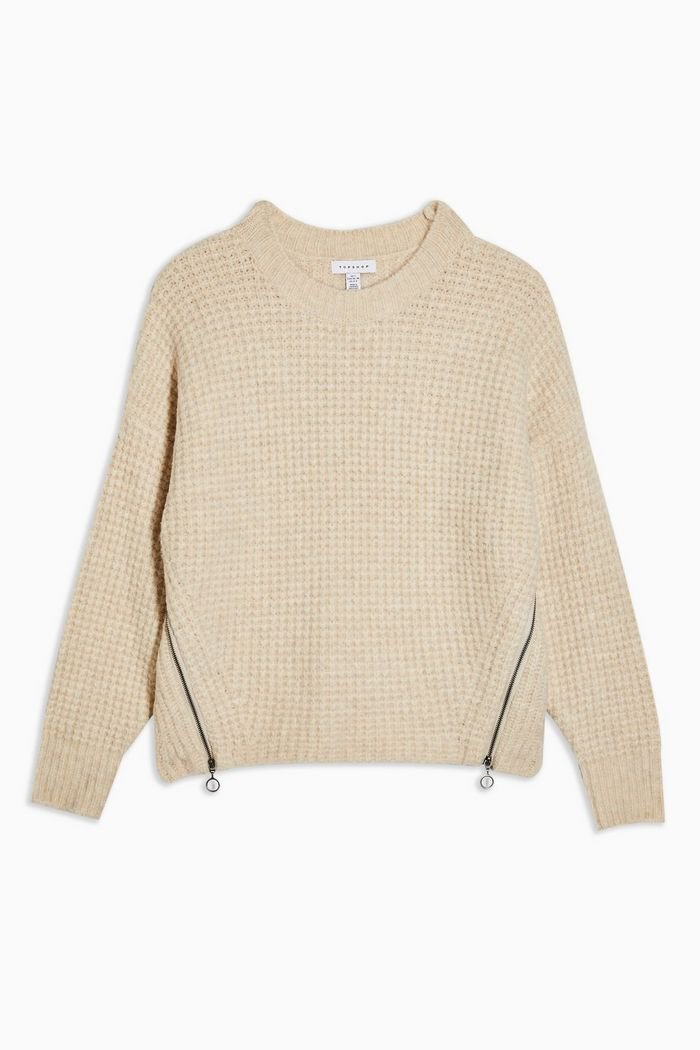 Oat Knitted Waffle Jumper   Topshop