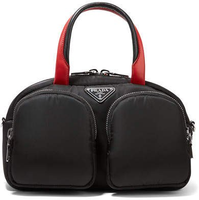 Leather-trimmed Nylon Tote - Black