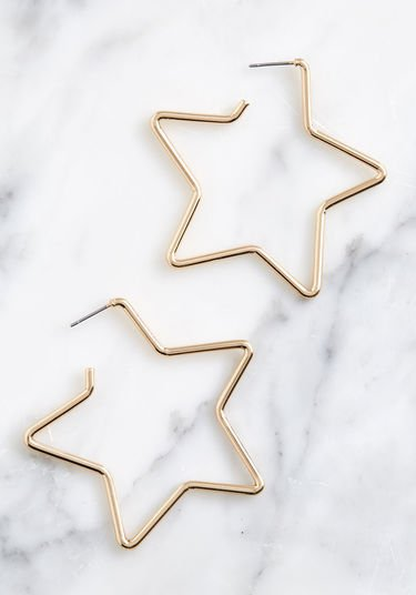 Seriously Stellar Star Hoop Earrings Gold | ModCloth