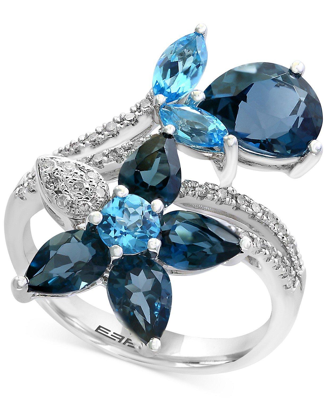 EFFY® 14k White Gold Blue Topaz and Diamond Flower Ring