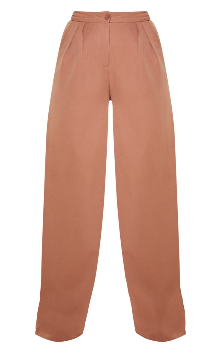 Taupe Woven Wide Leg Trouser | Trousers | PrettyLittleThing
