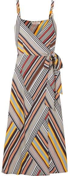 Striped Jersey Wrap Dress - Gray