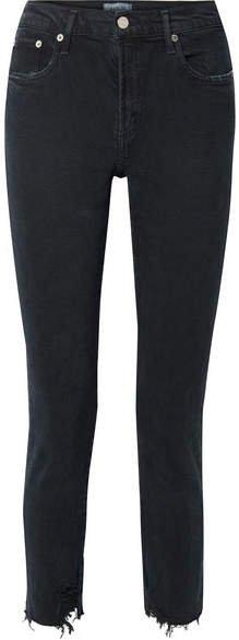 AGOLDE - Toni Distressed Mid-rise Straight-leg Jeans - Black