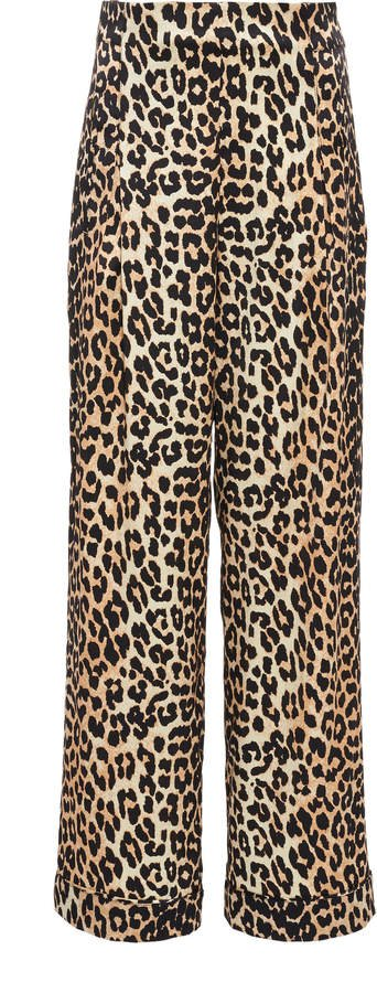 Leopard-Print Silk-Blend Satin Wide-Leg Pants