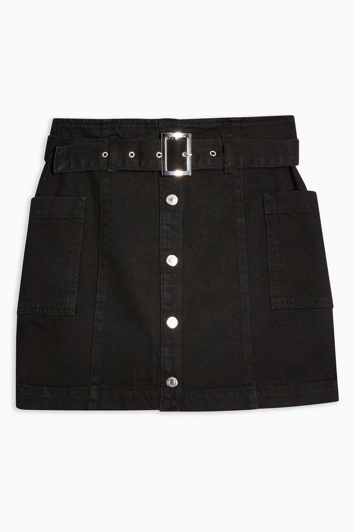 Button Down Belted Denim Skirt | Topshop black