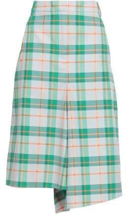 Asymmetric Checked Twill Skirt