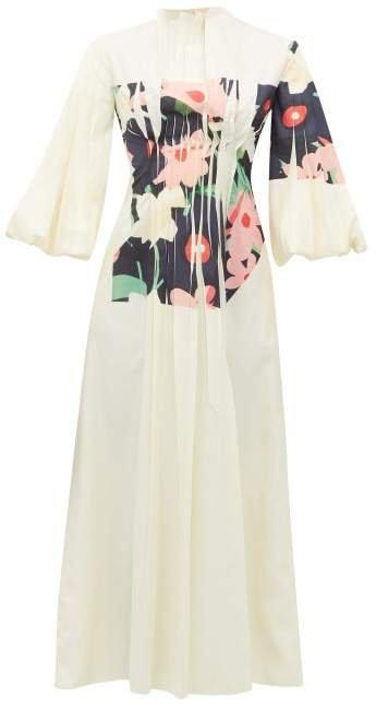 Neesha Floral Print Cotton Blend Midi Dress - Womens - Ivory Multi