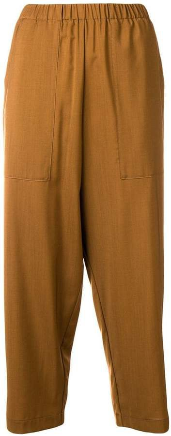 elastic waistband cropped trousers